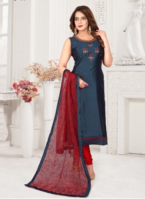 Blue Art Silk Embroidered Readymade Suit