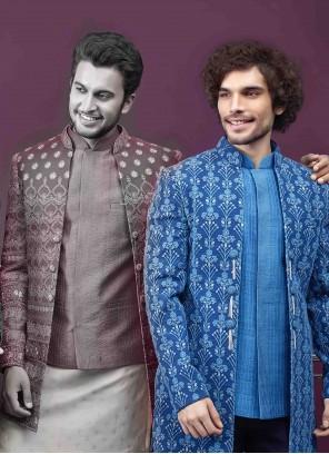 Blue Art Silk Embroidered Sherwani