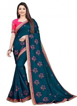 Blue Art Silk Embroidered Trendy Saree