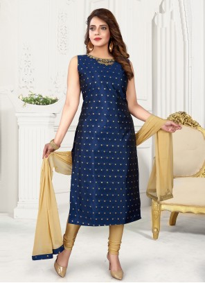 Blue Art Silk Fancy Readymade Suit