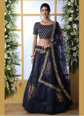 Blue Art Silk Festival Designer Lehenga Choli