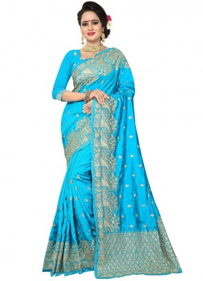 Blue Art Silk Festival Traditional Designer Saree