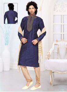 Blue Art Silk Kurta Pyjama
