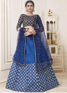 Blue Art Silk Lace Lehenga Choli