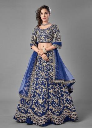 Blue Art Silk Lehenga Choli