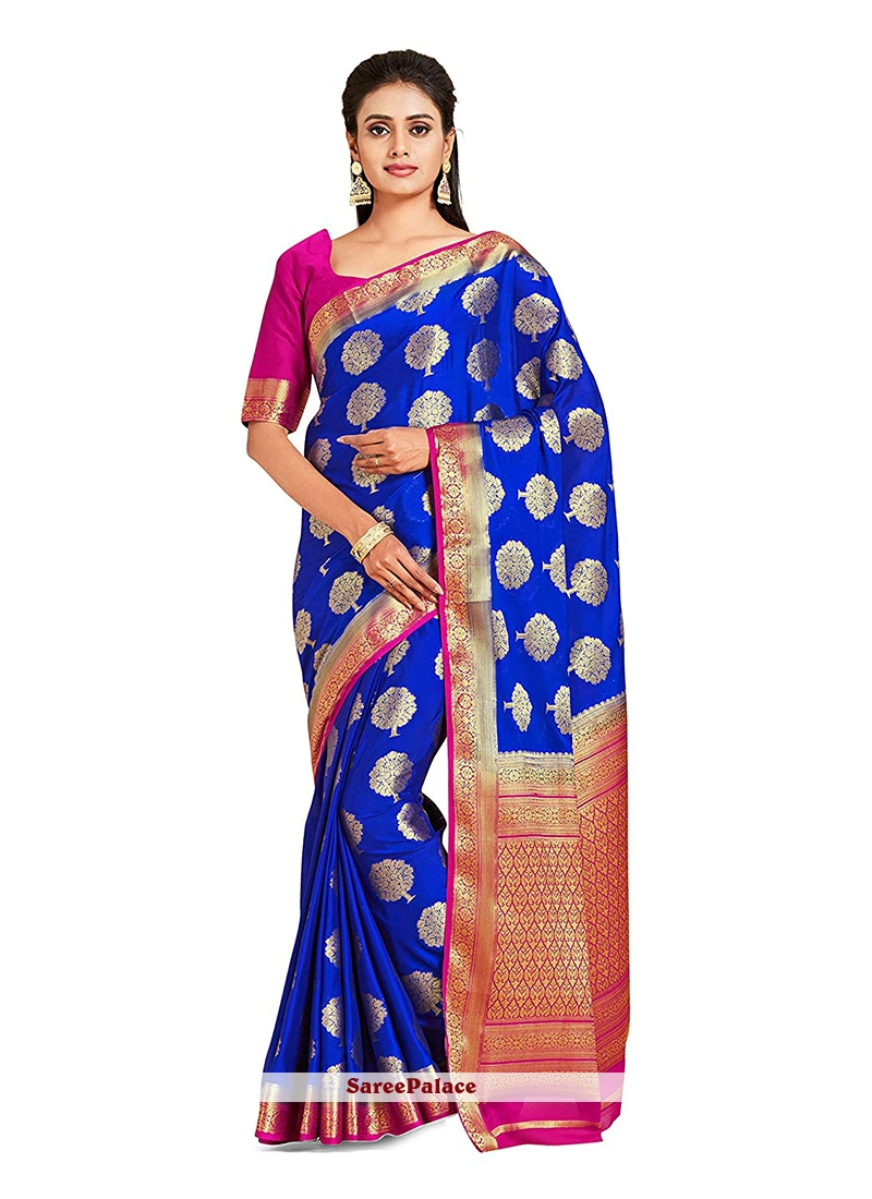 Blue Art Silk Mehndi Designer Traditional Saree