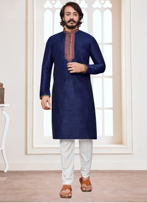 Blue Art Silk Mehndi Kurta Pyjama