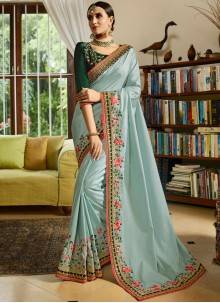 Blue Art Silk Patch Border Designer Traditional Saree