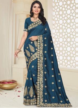 Blue Art Silk Patch Border Traditional Designer Saree