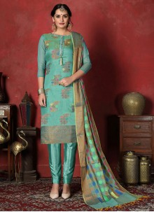 Blue Art Silk Print Churidar Designer Suit