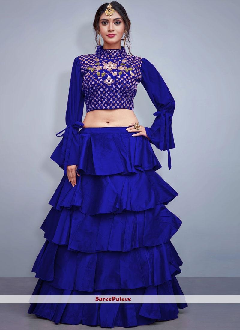 Blue Art Silk Readymade Lehenga Choli