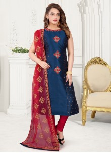 Blue Art Silk Readymade Suit