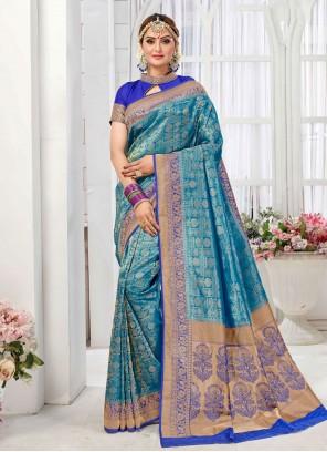 Blue Art Silk Saree