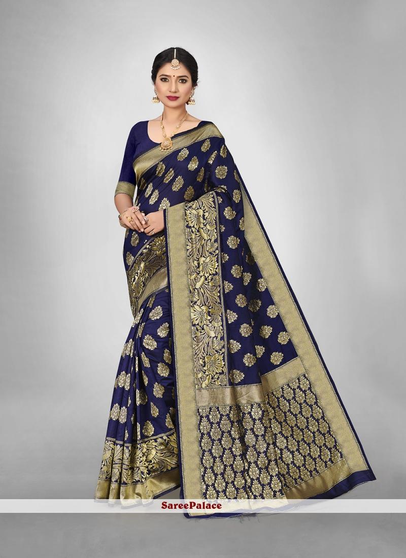 Blue Art Silk Weaving Zari Saree