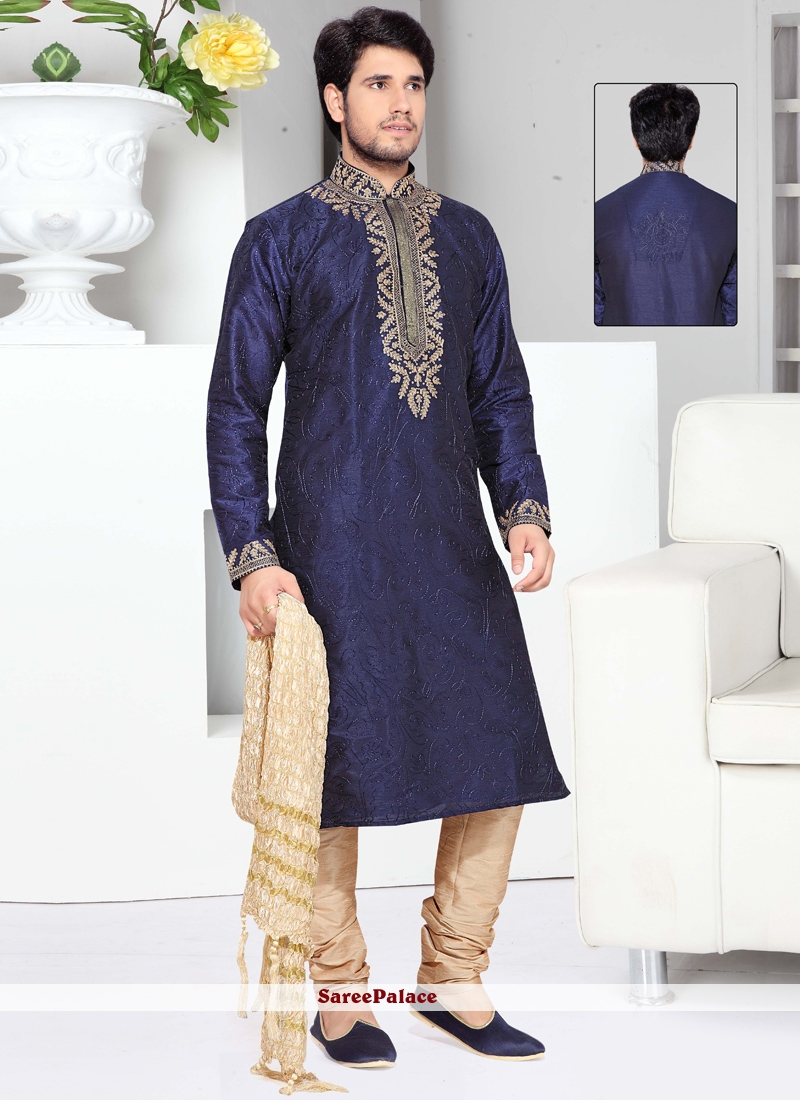 Blue Art Silk Thread Work Work Kurta Pyjama