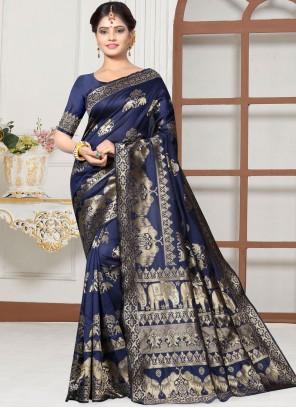 Blue Art Silk Traditional Designer Saree