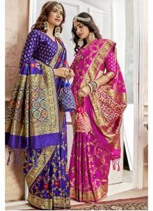 Blue Art Silk Weaving Saree