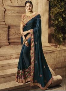 Blue Art Silk Wedding Silk Saree