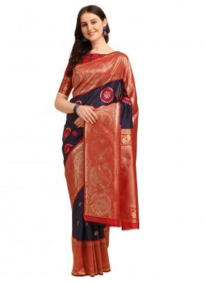 Blue Banarasi Jacquard Trendy Saree