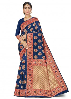 Blue Banarasi Silk Ceremonial Traditional Saree