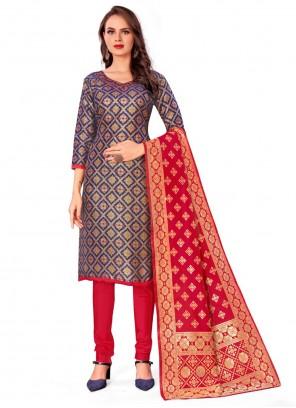 Blue Banarasi Silk Churidar Designer Suit
