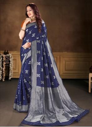 Blue Banarasi Silk Classic Saree