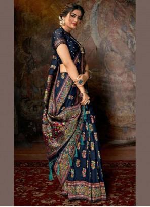 Blue Banarasi Silk Digital Print Designer Contemporary Style Saree