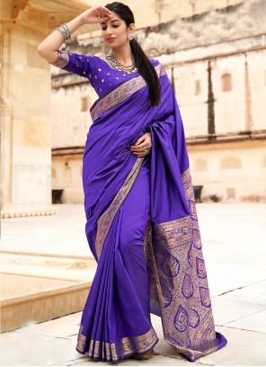 Blue Banarasi Silk Festival Contemporary Saree