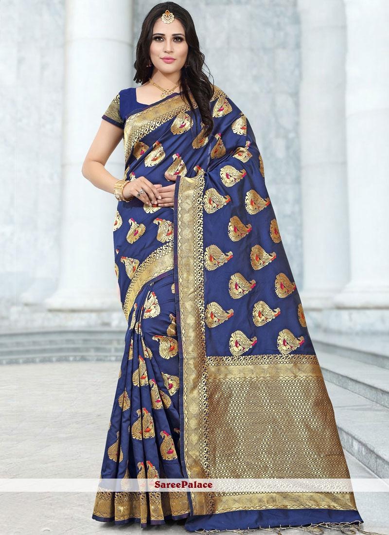 Blue Banarasi Silk Festival Trendy Saree