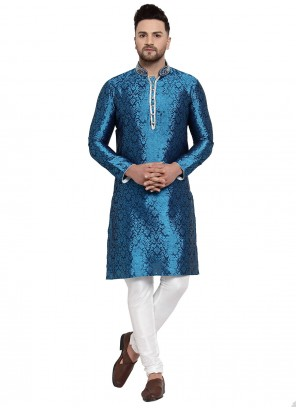 Blue Banarasi Silk Party Kurta Pyjama
