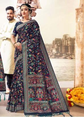 Blue Banarasi Silk Reception Saree