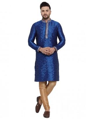 Blue Banarasi Silk Sangeet Kurta Pyjama