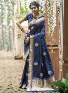 Blue Banarasi Silk Sangeet Traditional Designer Saree