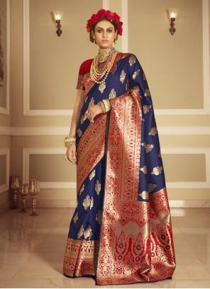Blue Banarasi Silk Traditional Designer Saree