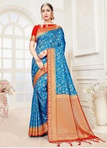 Blue Banarasi Silk Traditional Saree
