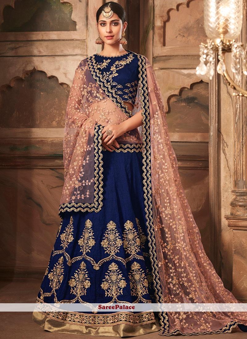 Blue Banarasi Silk Trendy Lehenga Choli