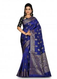 Blue Banarasi Silk Weaving Bollywood Saree