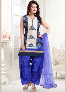 Blue Banglori Silk Embroidered Designer Patiala Suit