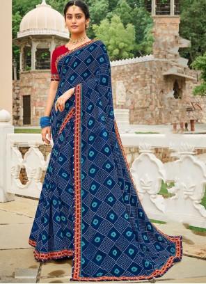 Blue Border Contemporary Saree