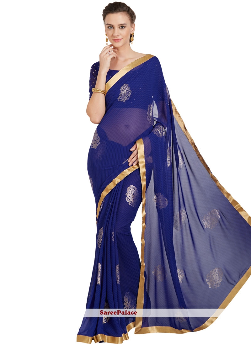 bff44e668a Buy Blue Border Work Work Faux Georgette Casual Saree Online