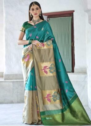 Blue Bridal Traditional Saree