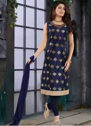 Blue Brocade Party Trendy Churidar Salwar Kameez