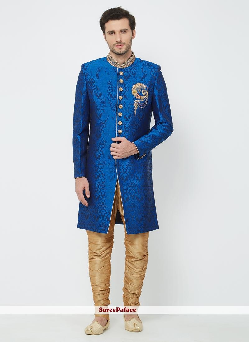 0fb4e08a6f8 Buy Blue Brocade Wedding Sherwani Online
