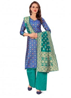 Blue Jacquard Work Casual Salwar Kameez