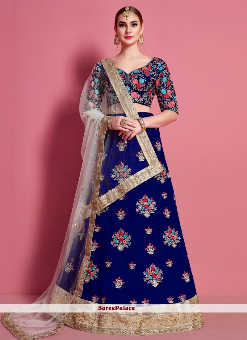 Blue Ceremonial Art Silk A Line Lehenga Choli