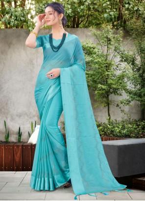 Blue Ceremonial Chiffon Satin Traditional Designer Saree