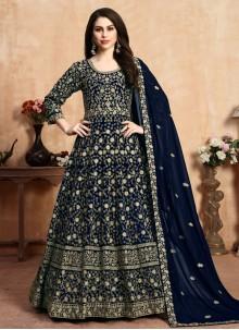 Blue Ceremonial Georgette Anarkali Suit