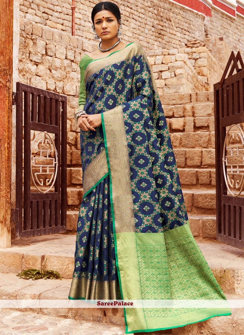 Blue Ceremonial Patola Silk  Designer Saree