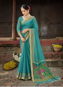 Blue Ceremonial Printed Saree