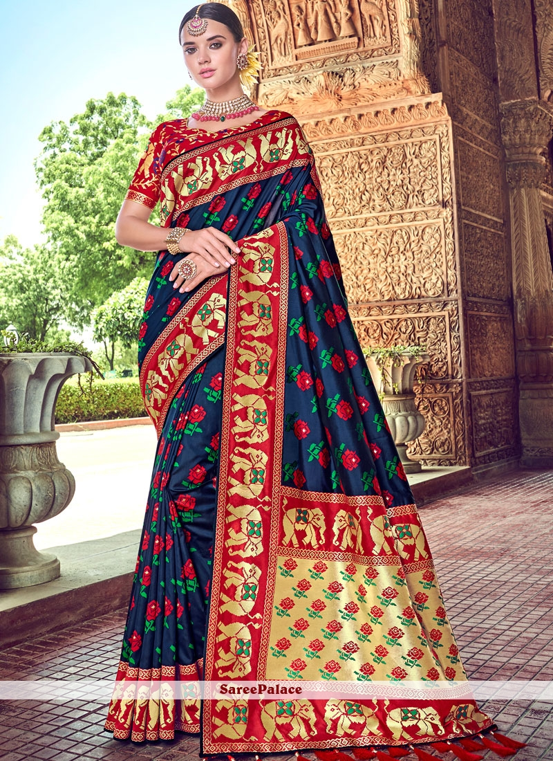 Blue Ceremonial Silk Designer Saree